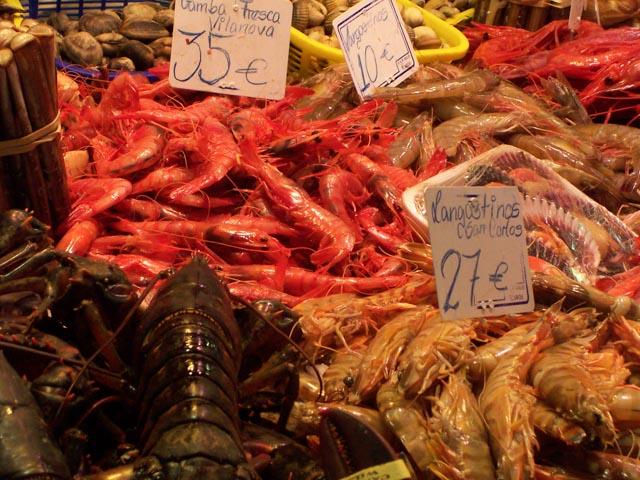 Spain, Barcelona - Mercat Boqueria Shellfish