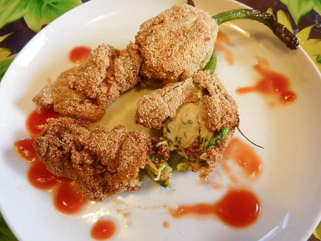 Stuffed Zucchini Flowers crumbed and fried and ready to serve