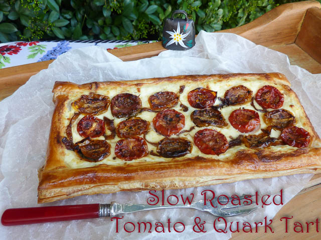 Slow Roasted Tomatoes & Quark Tart on a tray