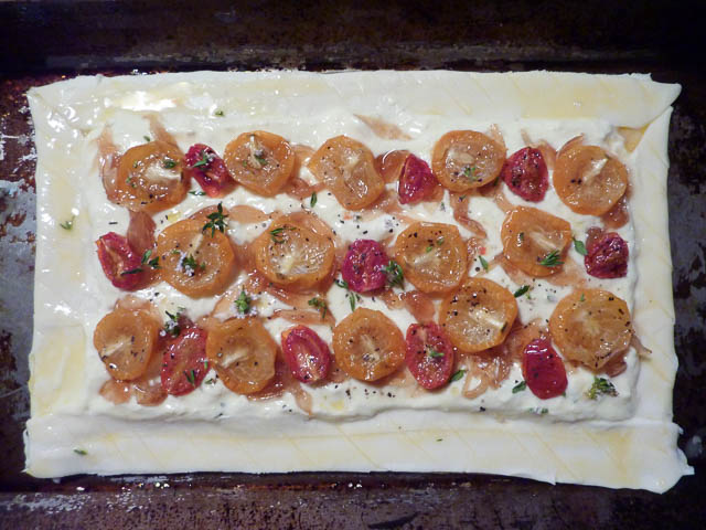 Uncooked slow roasted tomatoes and quark tart - note 2nd layer edges...