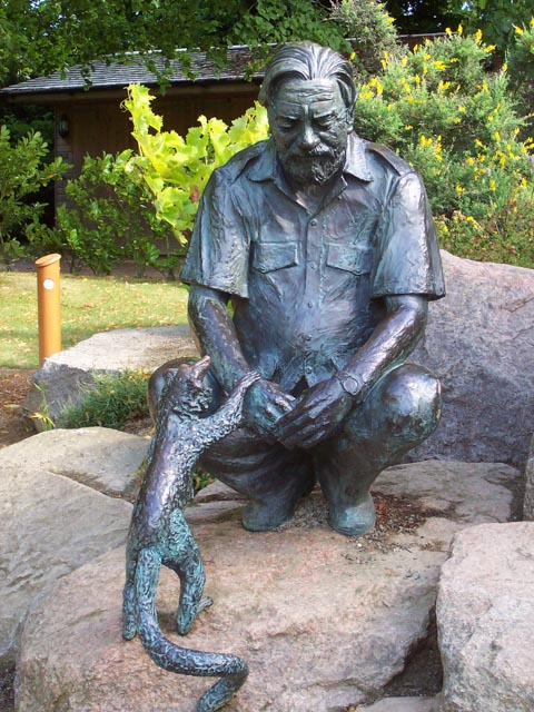 statue of Gerald Durrell at on the island of Jersey in the Channel Islands