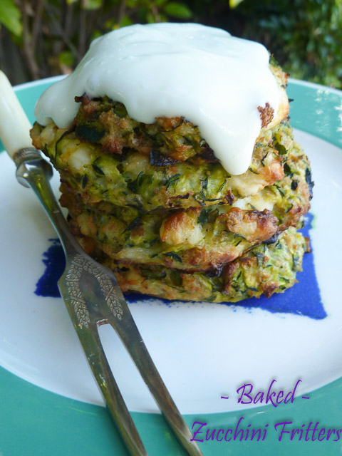 Baked Zucchini Fritters with youghurt sauce