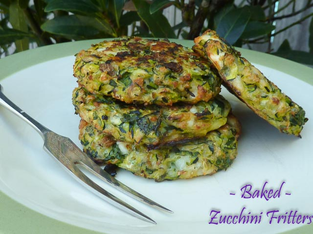 A crisp Baked Zucchini Fritter stack