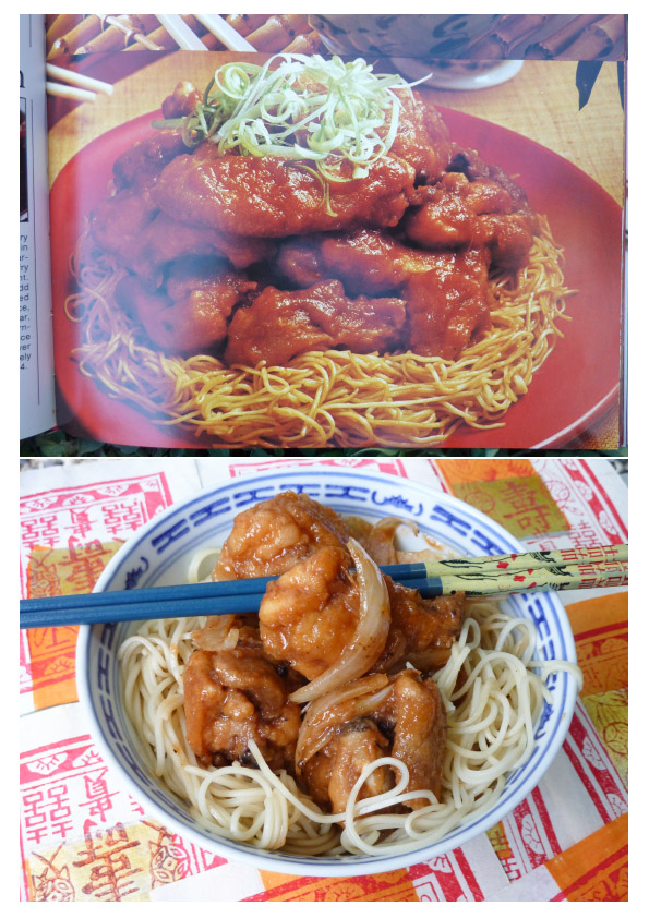 Chinese Garlic Ginger Chicken dish compared to a photo f the Women's Weekly original