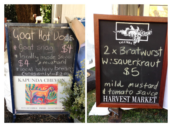 Harvest Market sign pair