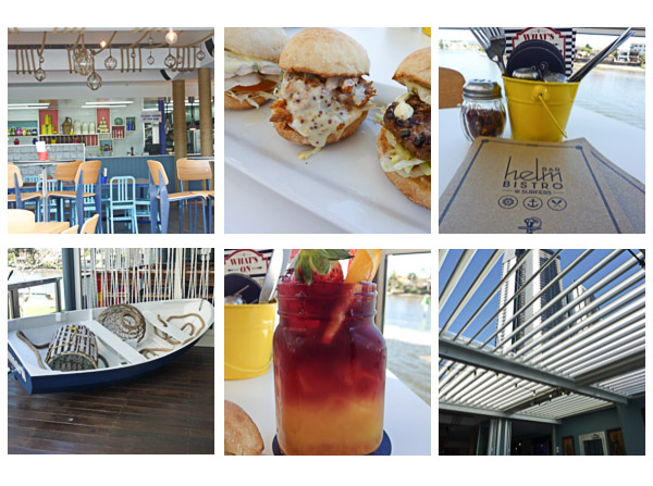 4 views of the interior of The Helm Bar in Surfers Paradise & a photo of a tropical drink served in a mason jar.