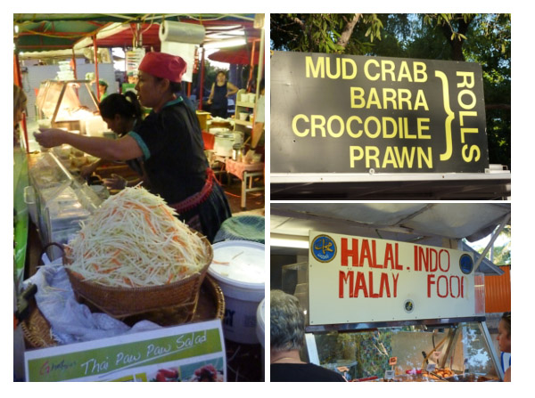 A wide variety of food on sale at Mindil Beach including Vietnamese, Malaysian and native Australian flavours