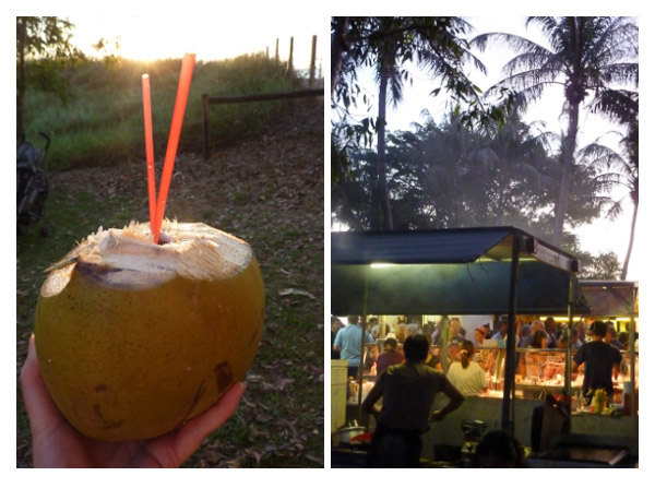 A fresh coconut to drink from and the smoke from many food stalls at Mindil Beach