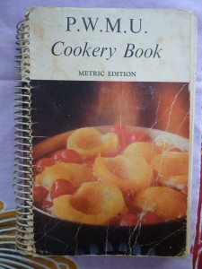 Presbyterian Women's Missionary Union Cookery Book with tattered cover and ring binding