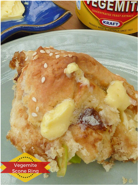 A slice of Vegemite Scone Ring with melting butter