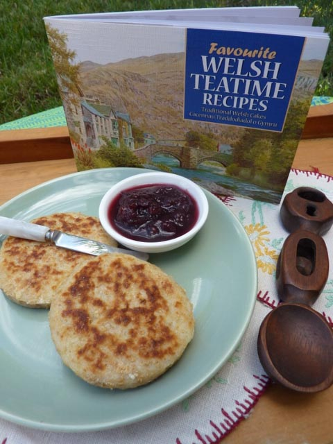 Welsh Potato Cakes on a plate with the recipe book