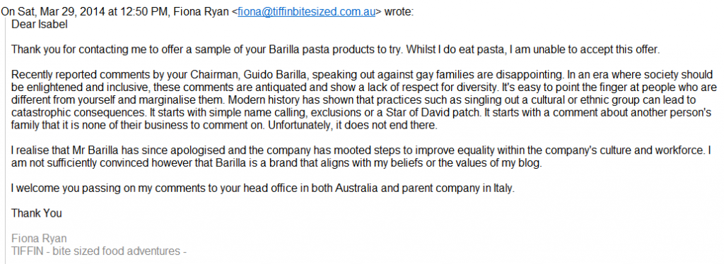 Tiffin Barilla refusal