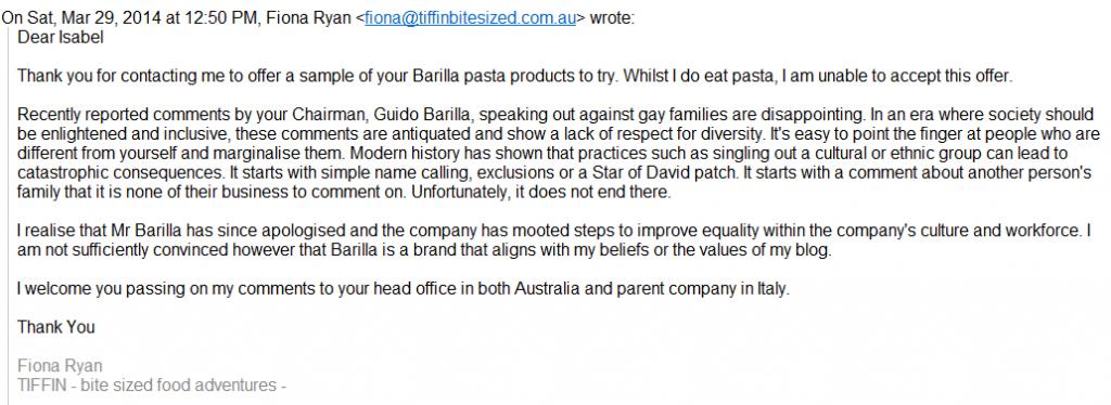 Tiffin Barilla refusal