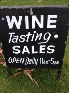 cellar door sign advertising wine tasting