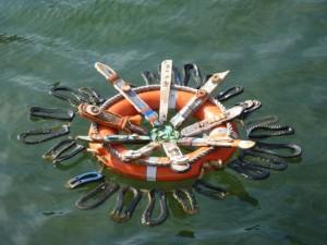 Fremantle Art Adrift art installation floating on water in dock area
