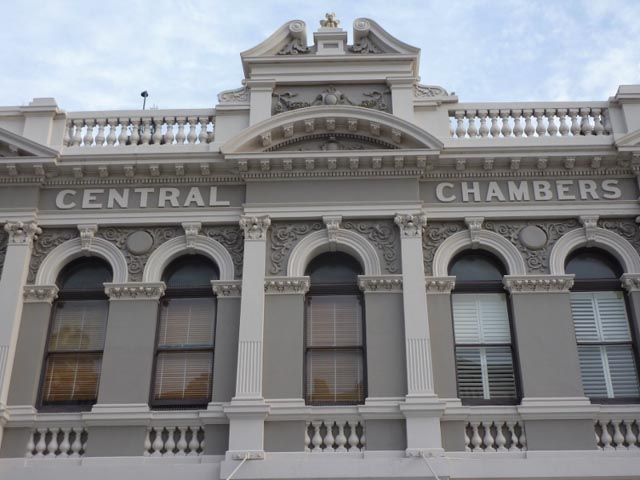 Historic Central Chambers building in grey & white - Fremantle, WA