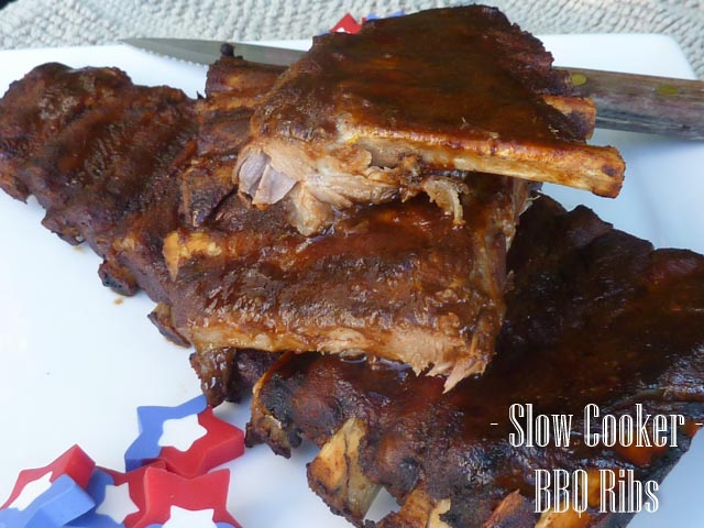 Slow cooker ribs in a sticky BBQ sauce