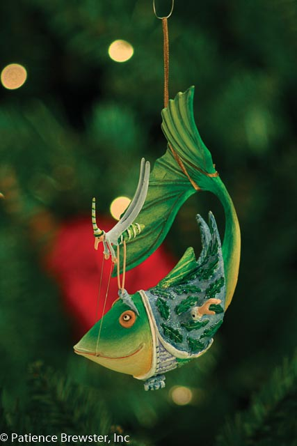 Comical fish Christmas ornament made by Patience Brewster