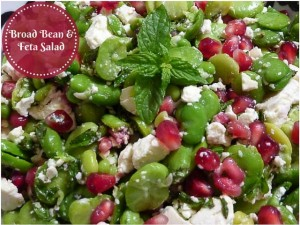Broad Bean & Feta Salad w Pomegranate seeds and mint leaves
