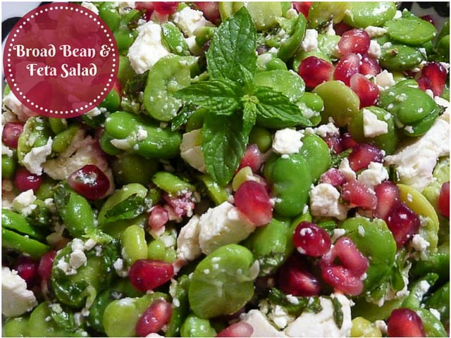 Broad Bean & Feta Salad with Pomegranate seeds