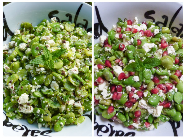 two different versions of Broad Bean & Feta Salad