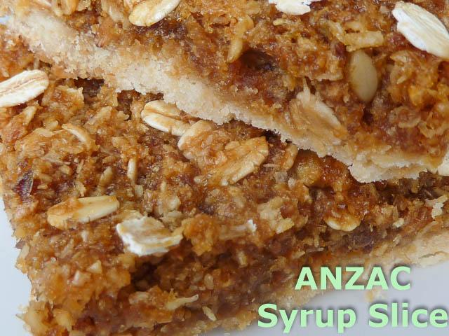 Anzac Syrup Slice Closeup