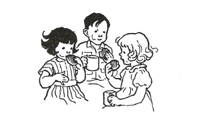 Milly Molly Mandy, Billy Blunt & Little Friend Susan enjoying a mug of lemonade and a bun