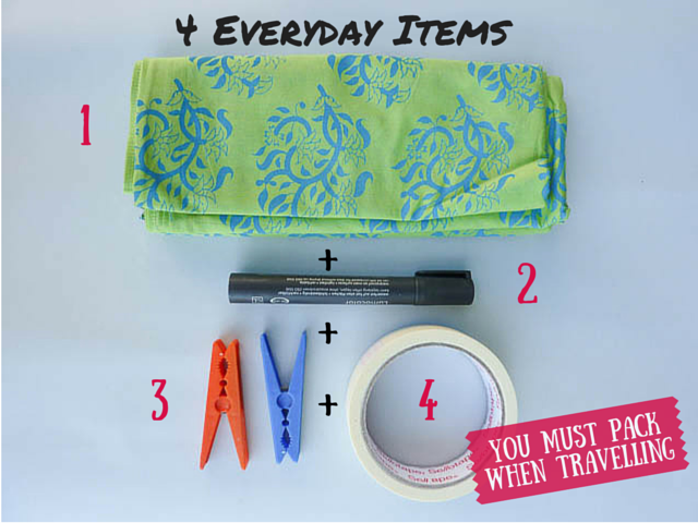 Sarong, permanent marker, pegs, masking tape - packing tips