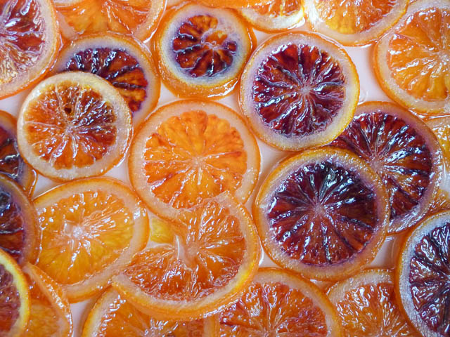 Glace Confit Blood Oranges Sliced