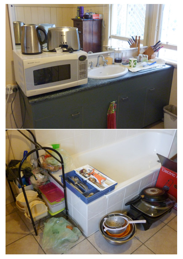 Makeshift kitchen in a bathroom