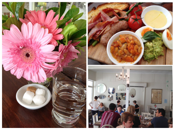 Pretty pink Gerberas in a glass; interior of Gertrude & Mabel cafe; breakfast board with bacon, sausages & blistered tomatoes