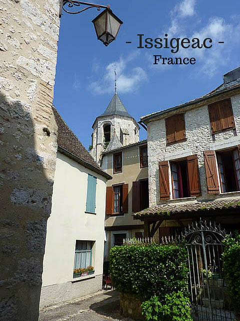Steetscape with winding lanes and medieval buildings in the small town of Issigeac in South-West France.