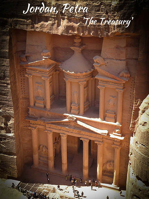 Elevated view of carved stone monument 'The Treasury' in Petra, Jordan
