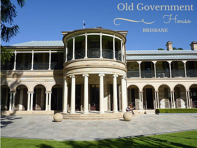 Beautiful sandstone Old Government House in the grounds of QUT, Brisbane