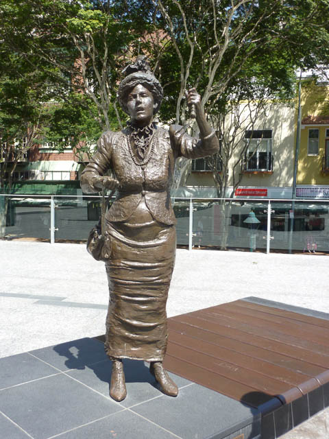 Emma Miller Statue in King George Square, Brisbane. Celebrated suffragette on International Women's Day.