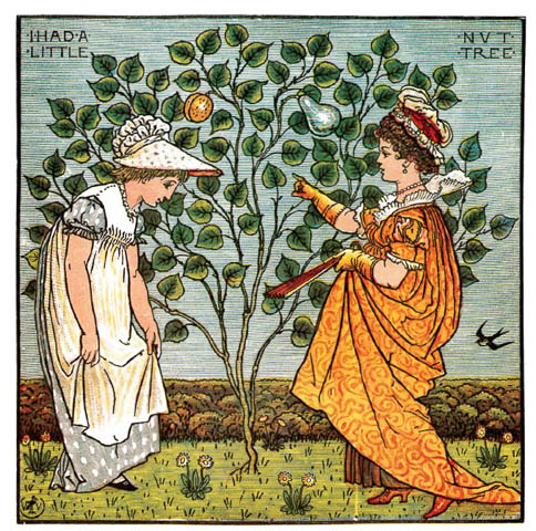 Coloured Victorian plate for the rhyme 'I Had A Little Nut Tree'. A girl in white curtsies to a regal figure in orange, with a crown. A nut tree is in between.