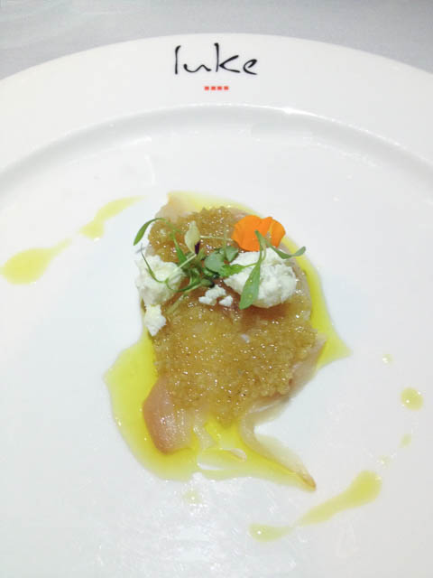 Luke Mangan's Kingfish Sashimi served with garnish of ginger, shallot and feta