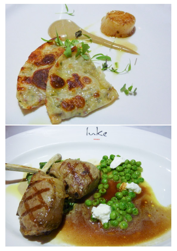 Prawn Pancake w Seared Scallop & Lamb Cutlets w Creamed Spinach, Peas & Goat Curd