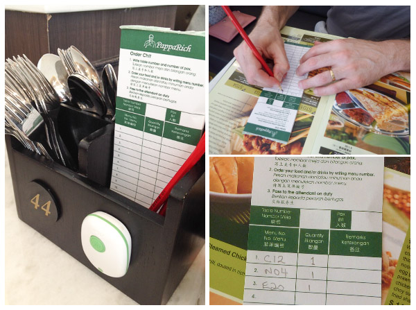Ordering chit, table buzzer and how to complete an order instructions at PappaRich Malaysian Restuarant