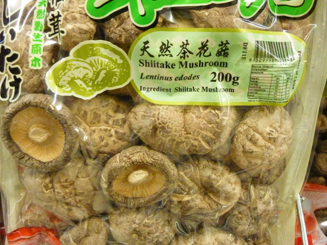 Bag of dried shiitake mushrooms from an Asian grocer