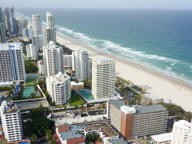 White sands of Surfers Paradise Beach viewed from the 41st floor