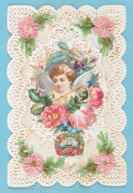 Victorian Era French Valentine inscribed 'Do Embark With Me' c 1857-1870 with cupid, flowers and lace