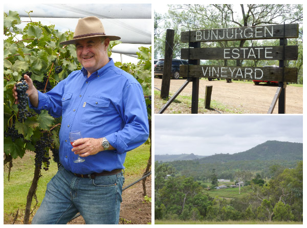Proprietor of Bunjurgen Estate Vineyard on the Scenic Rim, views towards Boonah from the vineyard and a sign advertising the vineyard