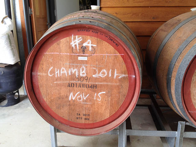 Wine barrel containing Chambourcin wine, , fermenting at Bunjurgen Estate in the Scenic Rim