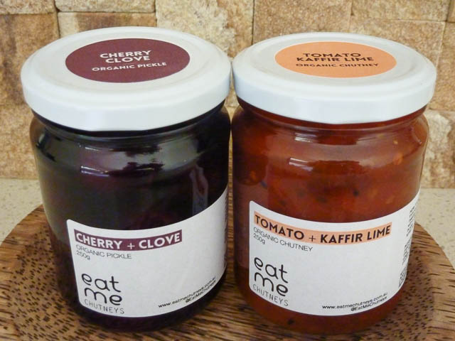 two jars or organic Eat Me Chutneys - Cherry & Clove and, Tomato & Kaffir Lime