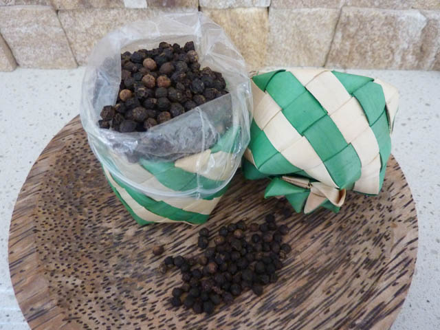 Small basket of Kampot Peppercorns from Cambodia