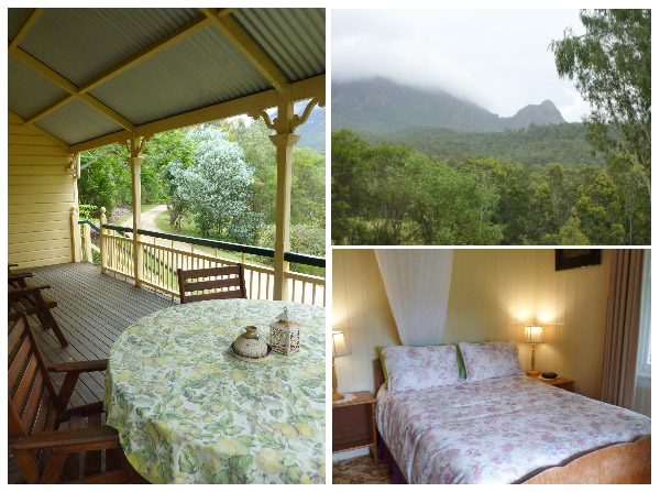 View from porch at Mt Barney lodge in the Scenic Rim; bedroom in Moringararah