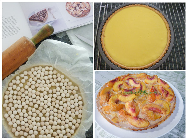 Trio of photos showing a peachy keen tart being prepared for blind baking, baked tart filled with custard and completed sliced peach tart