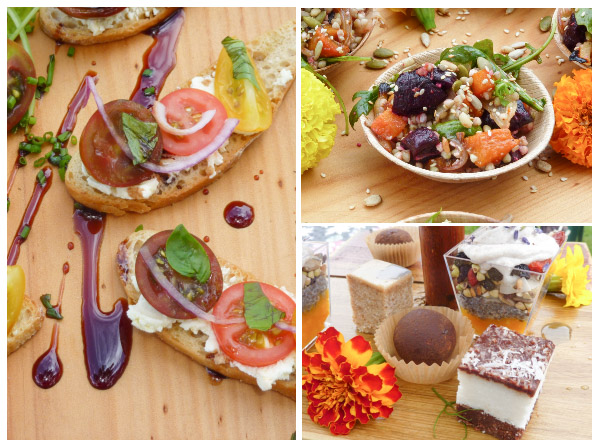 Heritage tomato bruschetta drizzled with balsamic; quinoa & roasted vegetable salad; raw cacao and chia desserts at The Scenic Rim