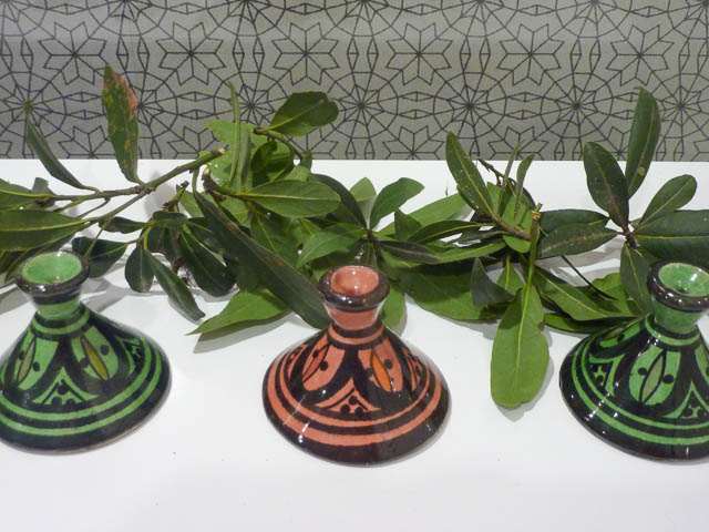 Bays Leaves and highly patterened Moroccan Pottery in green and pink